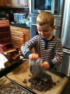 dumping chocolate