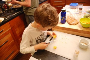 Ben slicing the fruit