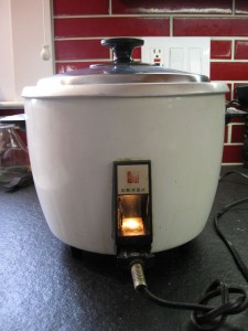 My rice cooker, doing its thing