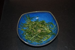 Agretti with sesame seeds