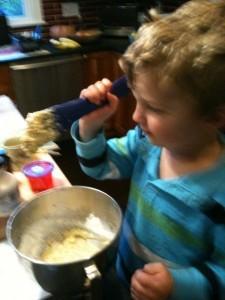 eli making cake